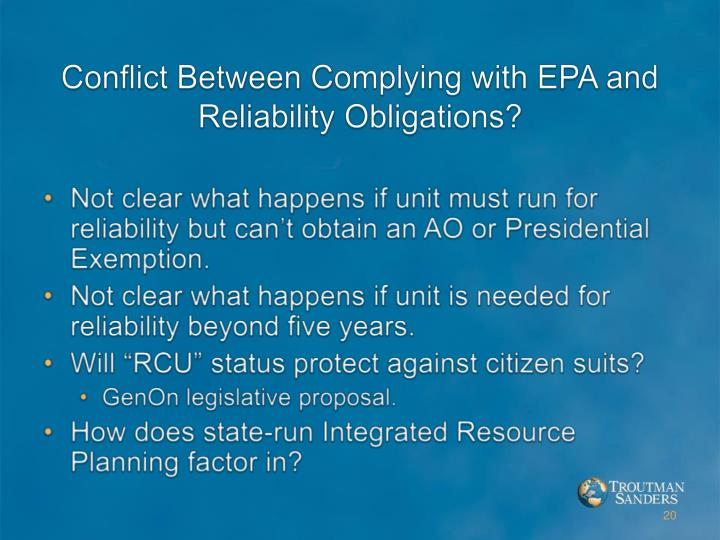 Conflict Between Complying with EPA and Reliability Obligations?