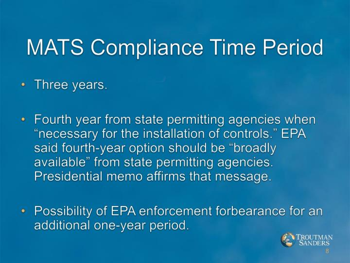 MATS Compliance Time Period