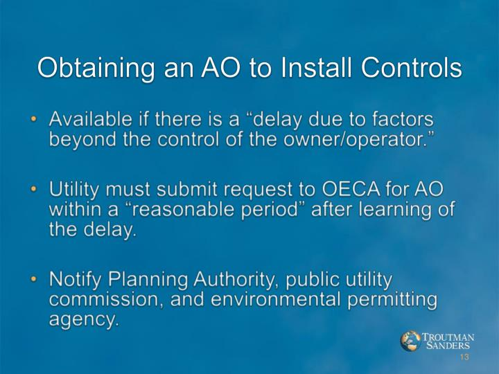 Obtaining an AO to Install Controls