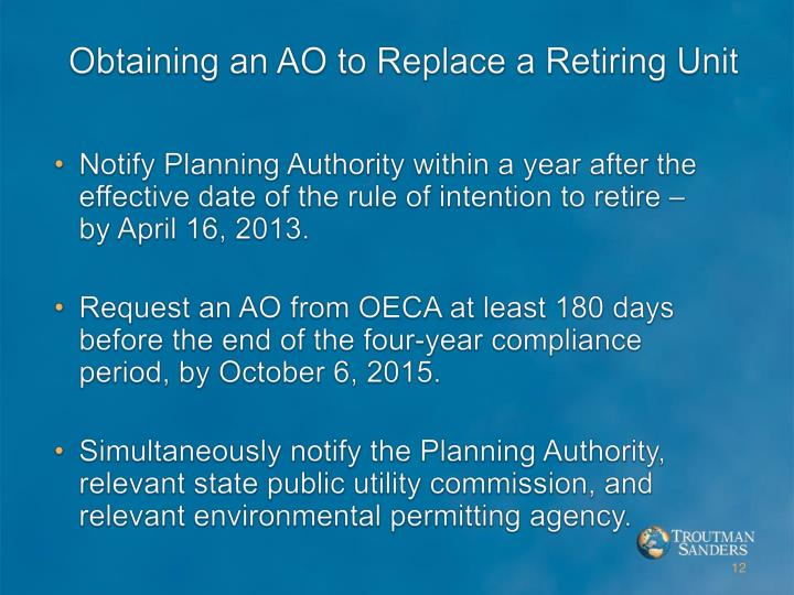 Obtaining an AO to Replace a Retiring Unit