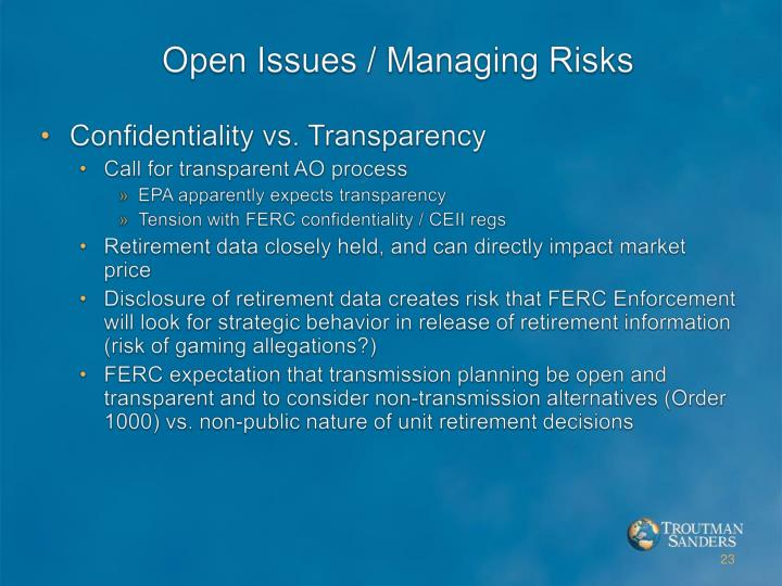 Open Issues / Managing Risks