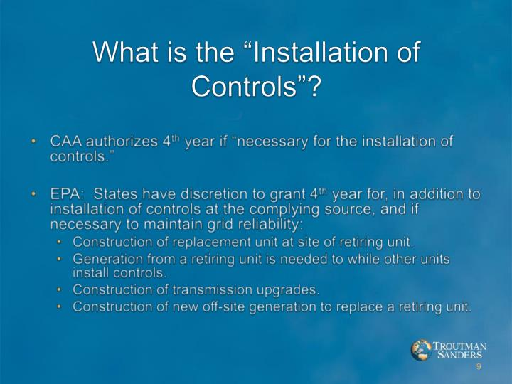 "What is the ""Installation of Controls""?"