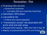 renewables risk