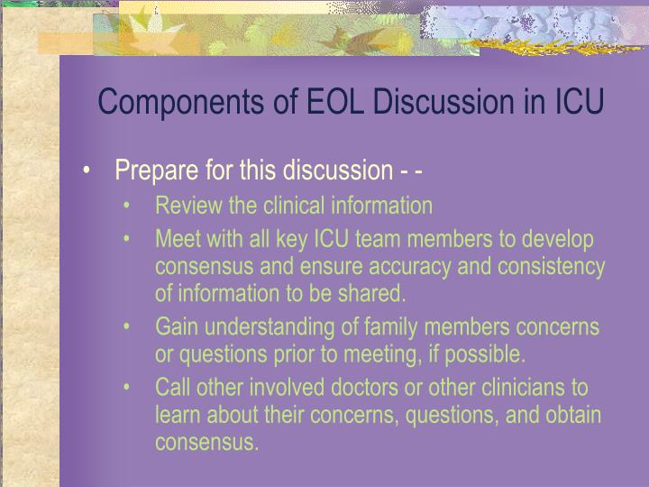 Components of EOL Discussion in ICU