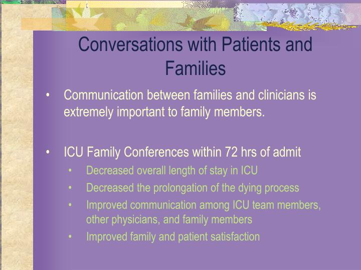Conversations with Patients and Families