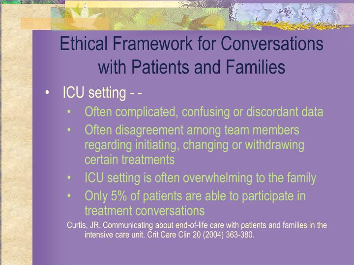 Ethical Framework for Conversations with Patients and Families
