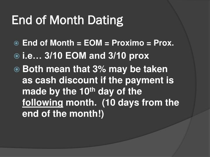 End of month dating