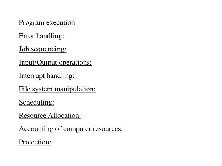 Program execution:
