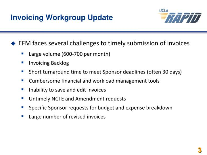 Invoicing Workgroup Update