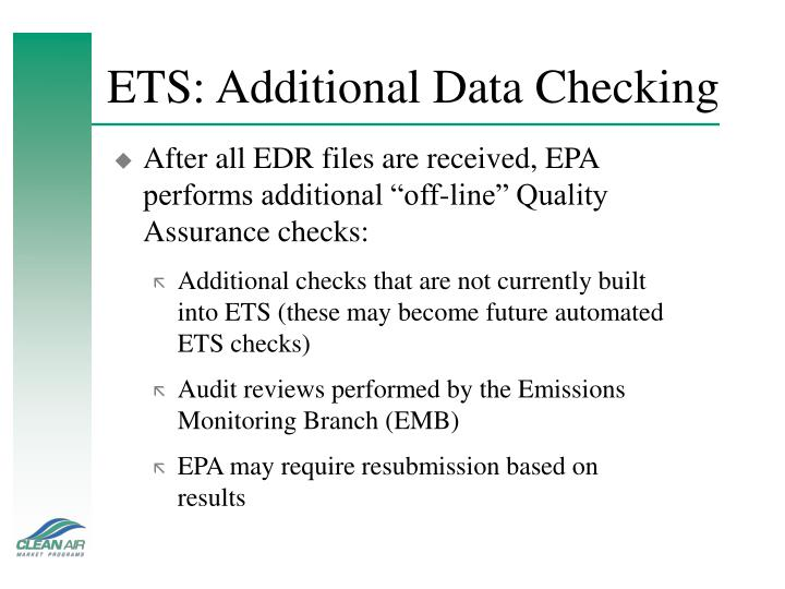 ETS: Additional Data Checking