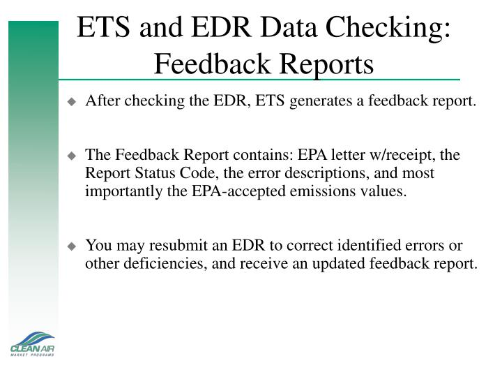 ETS and EDR Data Checking: Feedback Reports