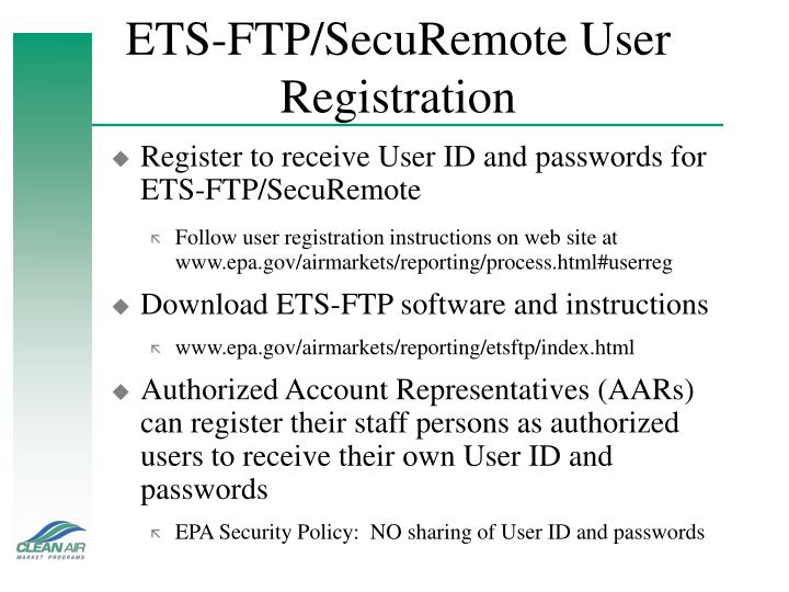 ETS-FTP/SecuRemote User Registration