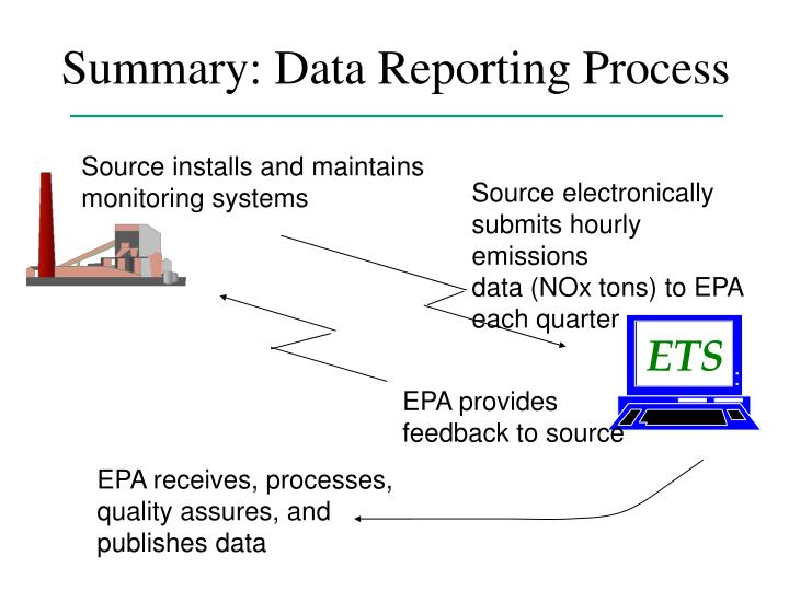 Summary data reporting process