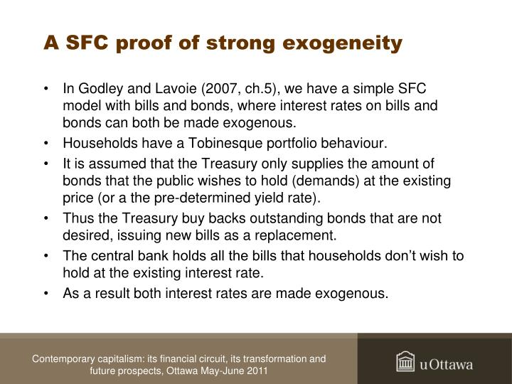 A SFC proof of strong exogeneity