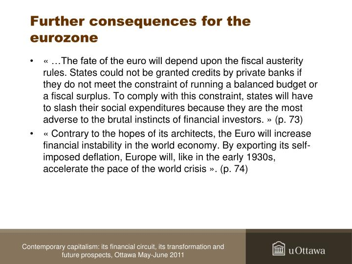 Further consequences for the eurozone