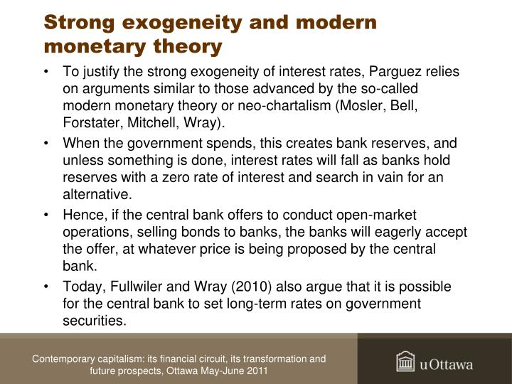 Strong exogeneity and modern monetary theory