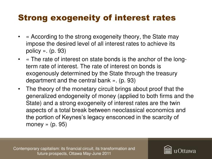 Strong exogeneity of interest rates