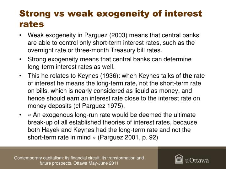 Strong vs weak exogeneity of interest rates