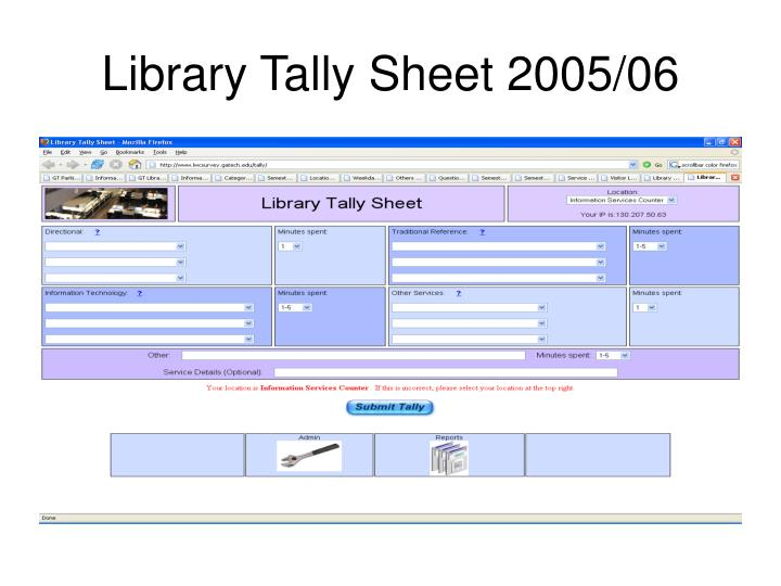 Library tally sheet 2005 06