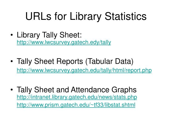 Urls for library statistics