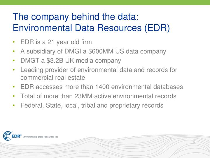 The company behind the data: Environmental Data Resources (EDR)