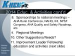 2014 educ activities cont d