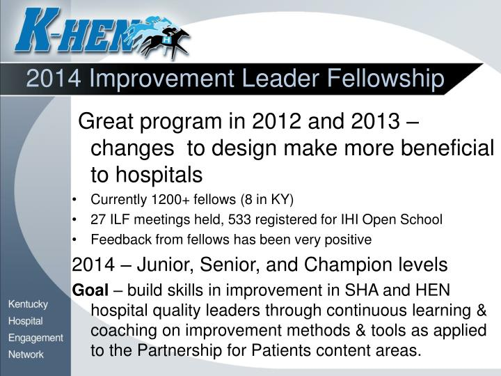 2014 Improvement Leader Fellowship