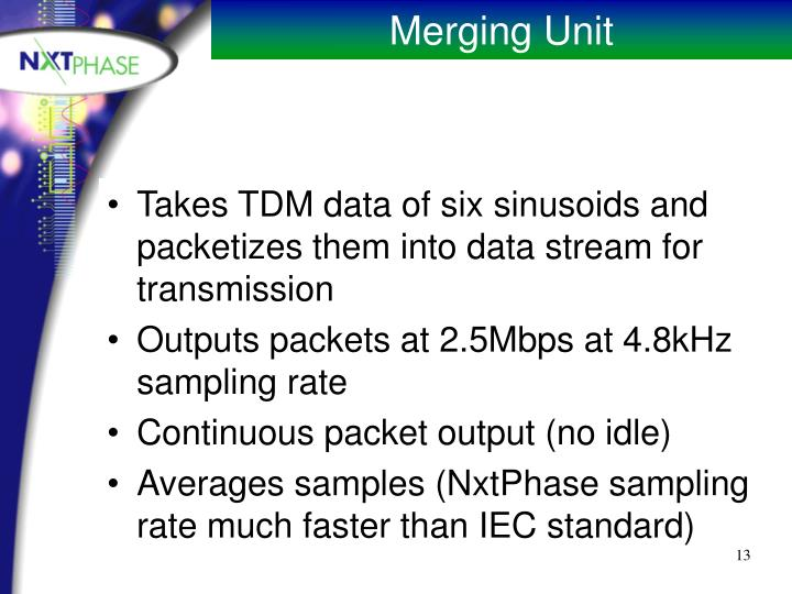 Takes TDM data of six sinusoids and packetizes them into data stream for transmission