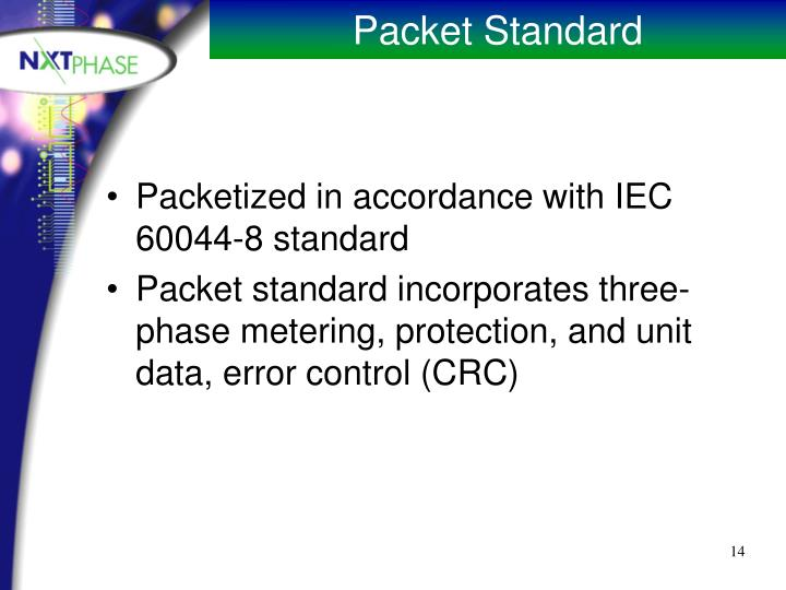Packetized in accordance with IEC 60044-8 standard