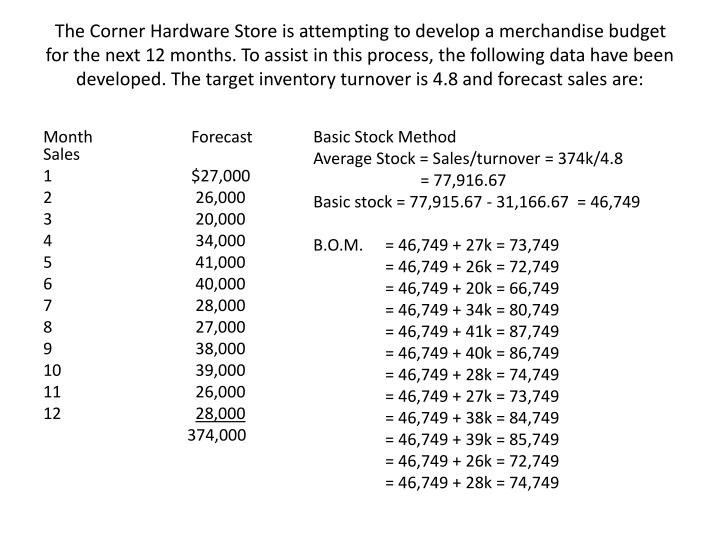The Corner Hardware Store is attempting to develop a merchandise budget for the next 12 months. To a...