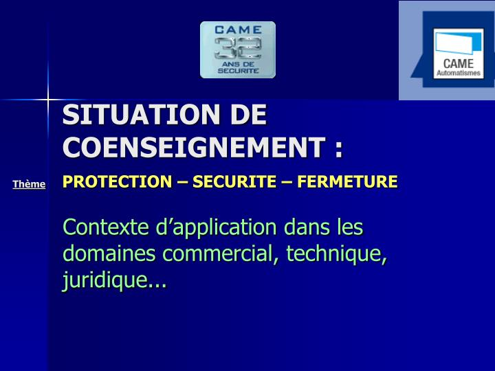 SITUATION DE COENSEIGNEMENT :