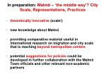 in preparation malm the middle way city scale representations practices