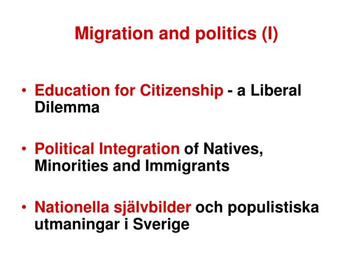 Migration and politics (I)