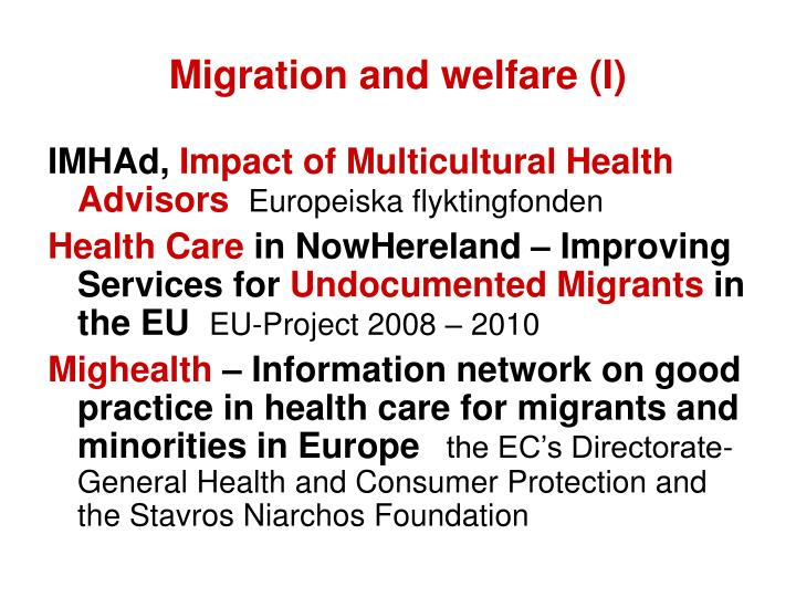 Migration and welfare (I)