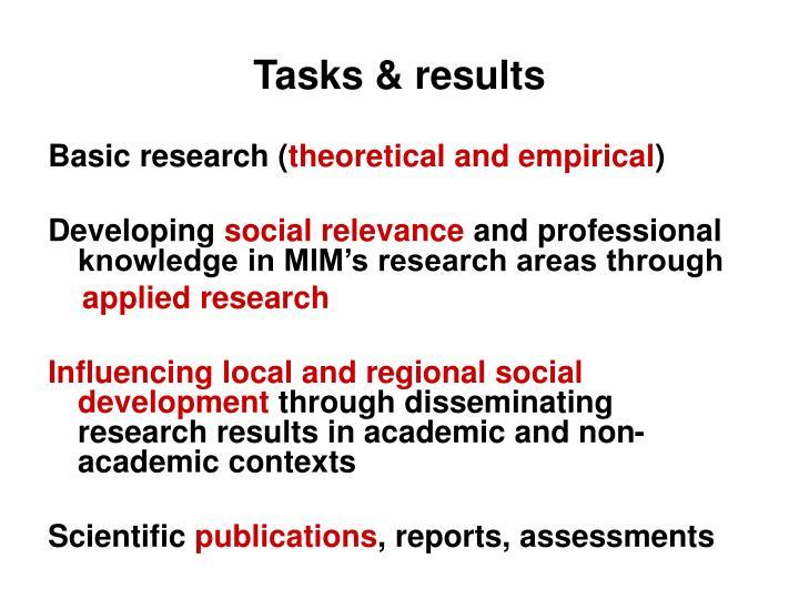 Tasks & results