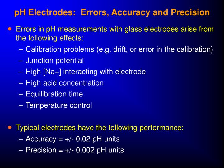 pH Electrodes:  Errors, Accuracy and Precision