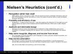nielsen s heuristics cont d