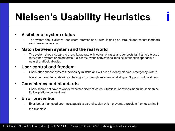 Nielsen's Usability Heuristics