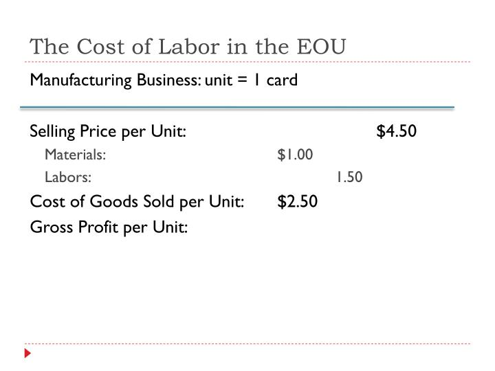 The Cost of Labor in the EOU