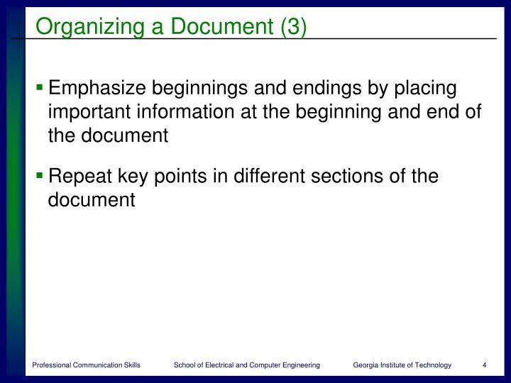 Organizing a Document (3)