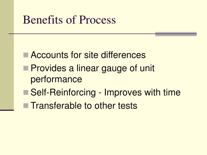 Benefits of Process