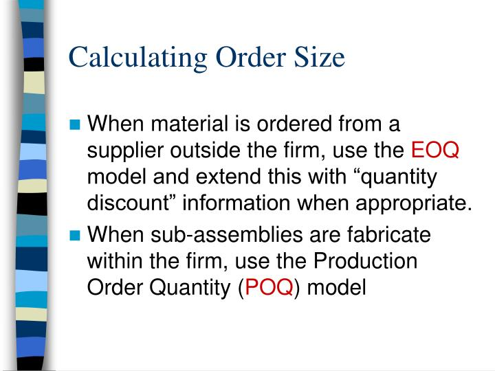 Calculating Order Size