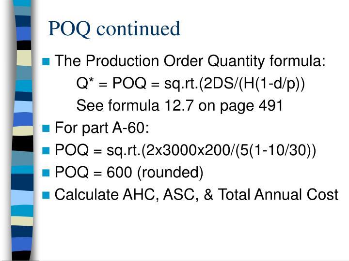 POQ continued