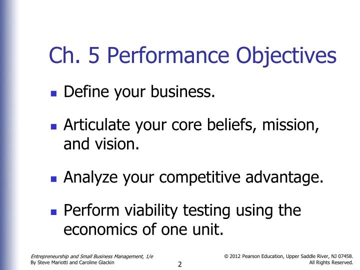 Ch. 5 Performance Objectives