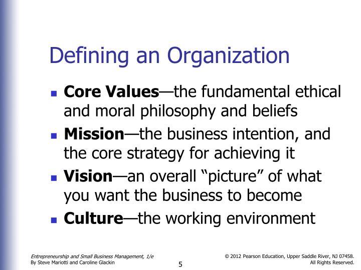 Defining an Organization
