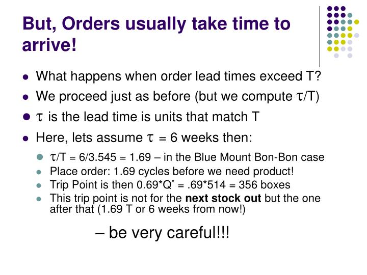 But, Orders usually take time to arrive!