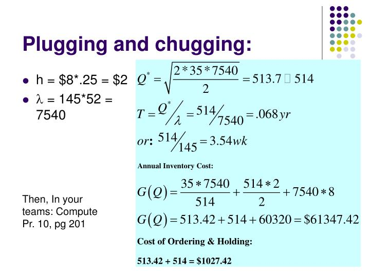 Plugging and chugging: