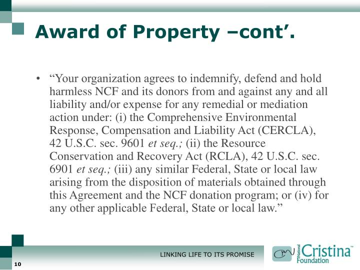 Award of Property –cont'.