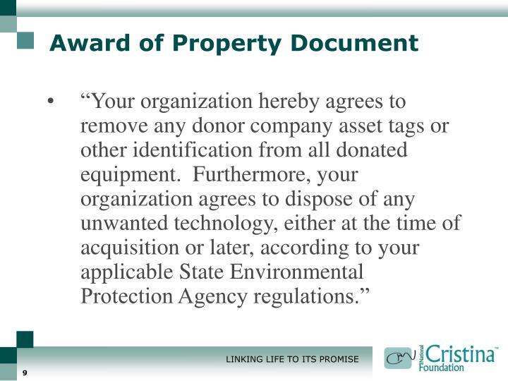 Award of Property Document