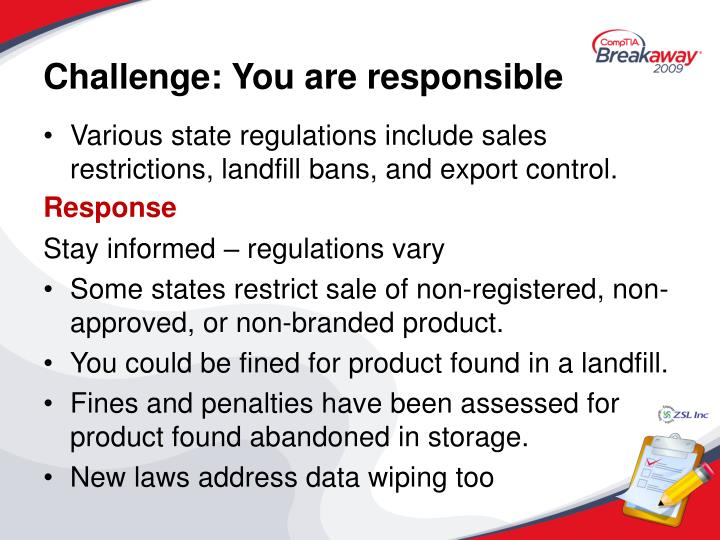 Challenge: You are responsible
